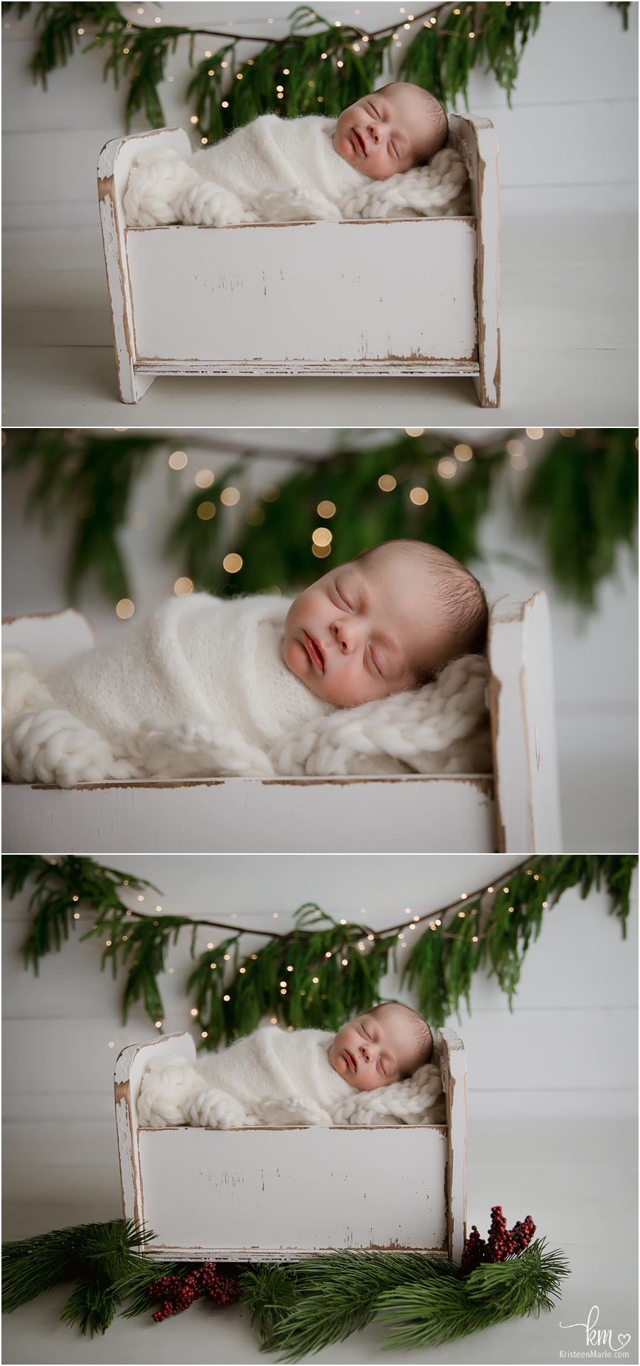 newborn Christmas pictures - twinkle lights
