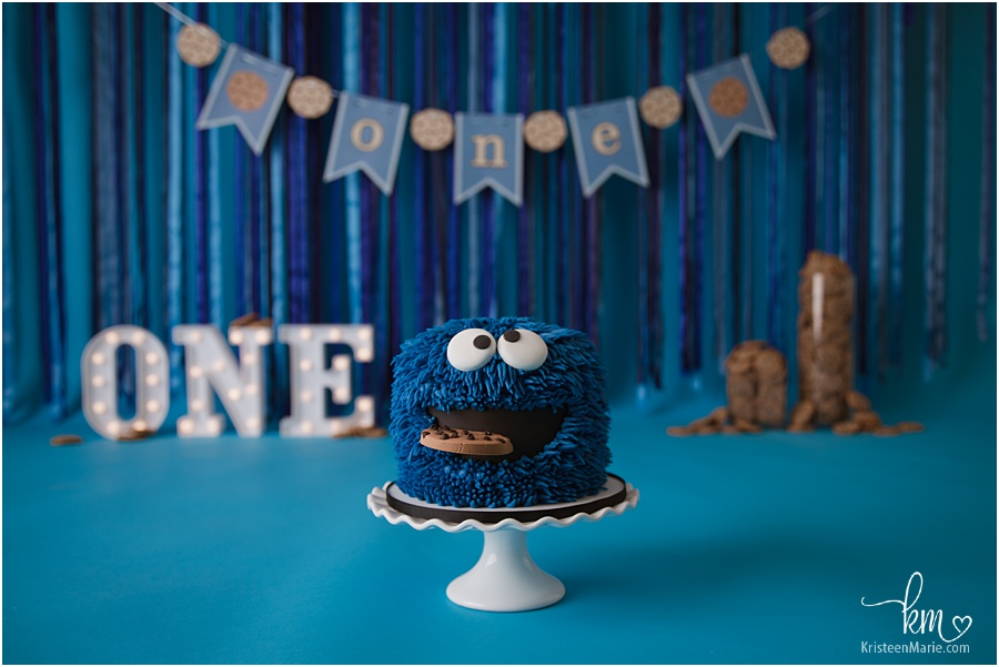 Cookie Monster 1st birthday cake smash - Cookie Monster Cake