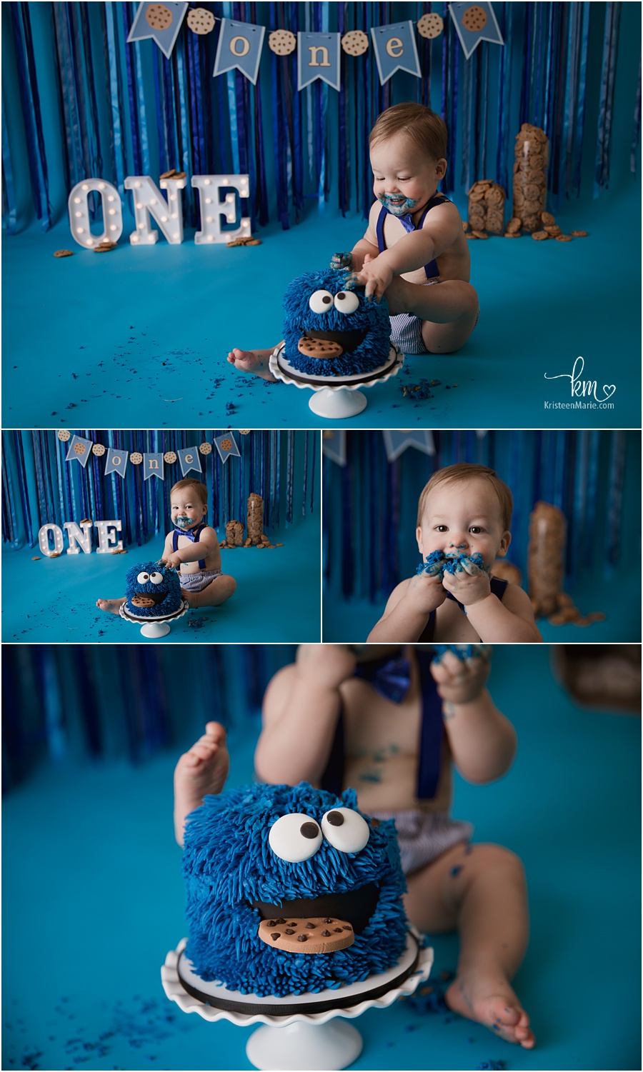 cookie themed cake smash with blue backdrop