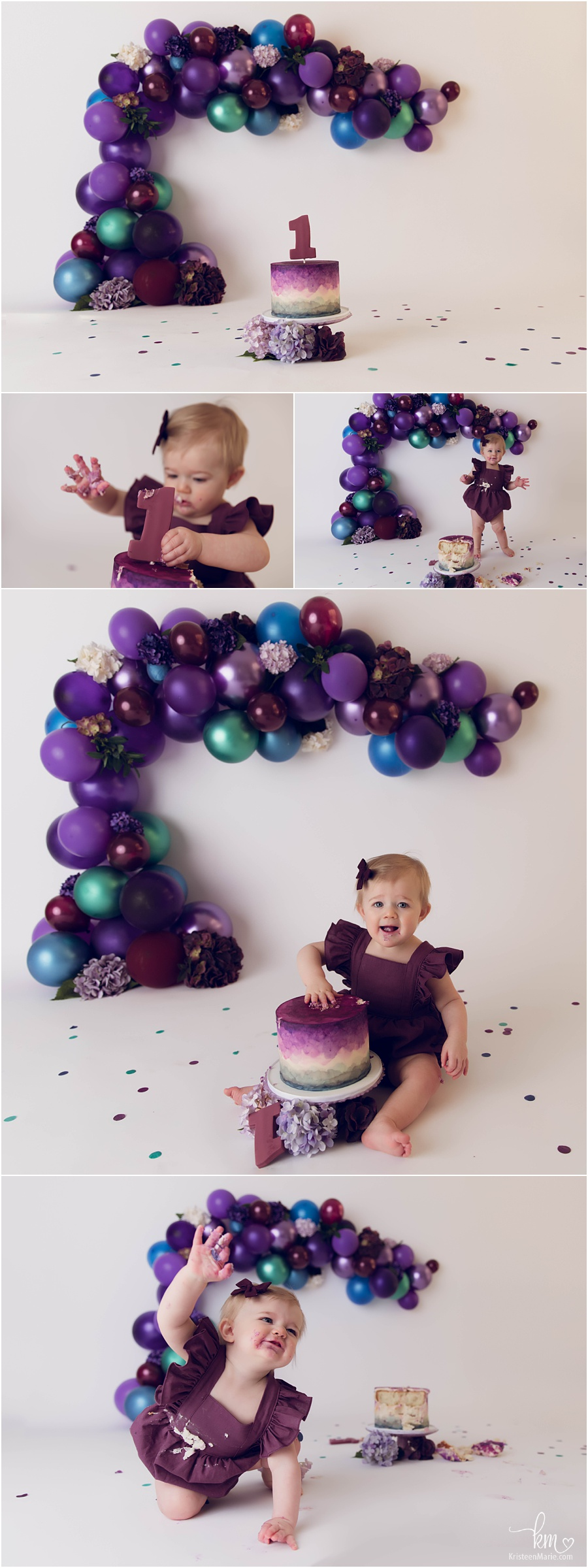 purple and blue 1st birthday balloon garland cake smash session