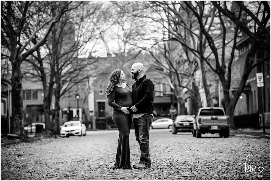 Lockerbie Square black and white maternity image