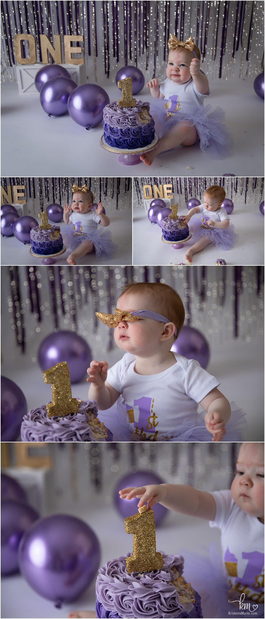 purple and gold 1st birthday cake smash session - cake smash photography with gold glitter