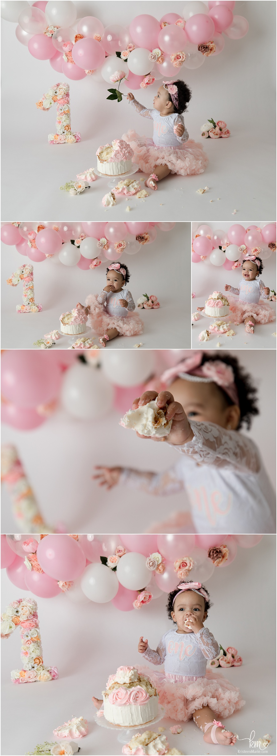 Cake Smash session with pink balloon arch including flowers