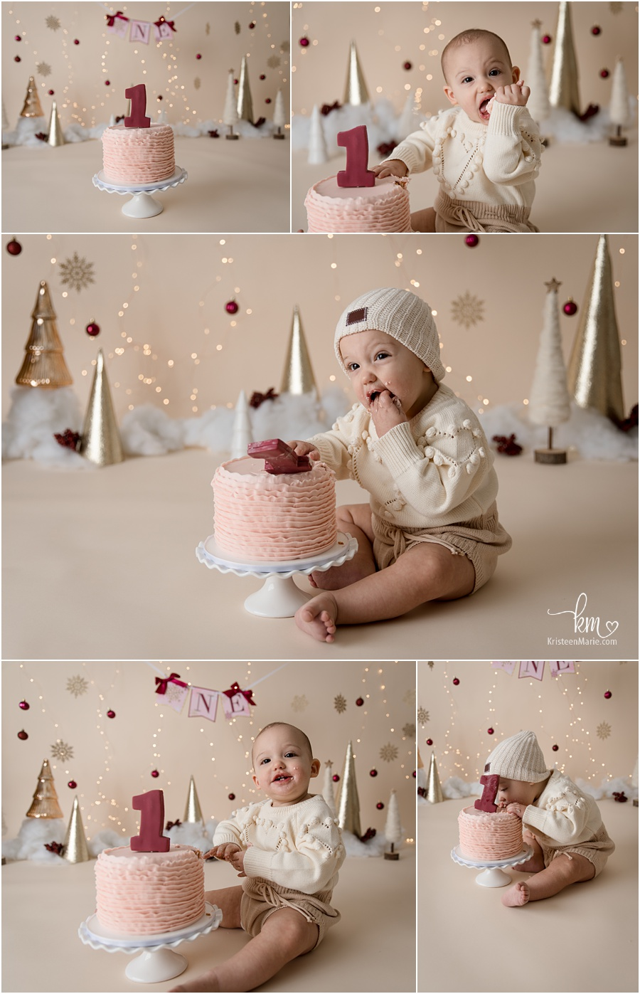 maroon and gold 1st birthday cake smash session winter ONEderland