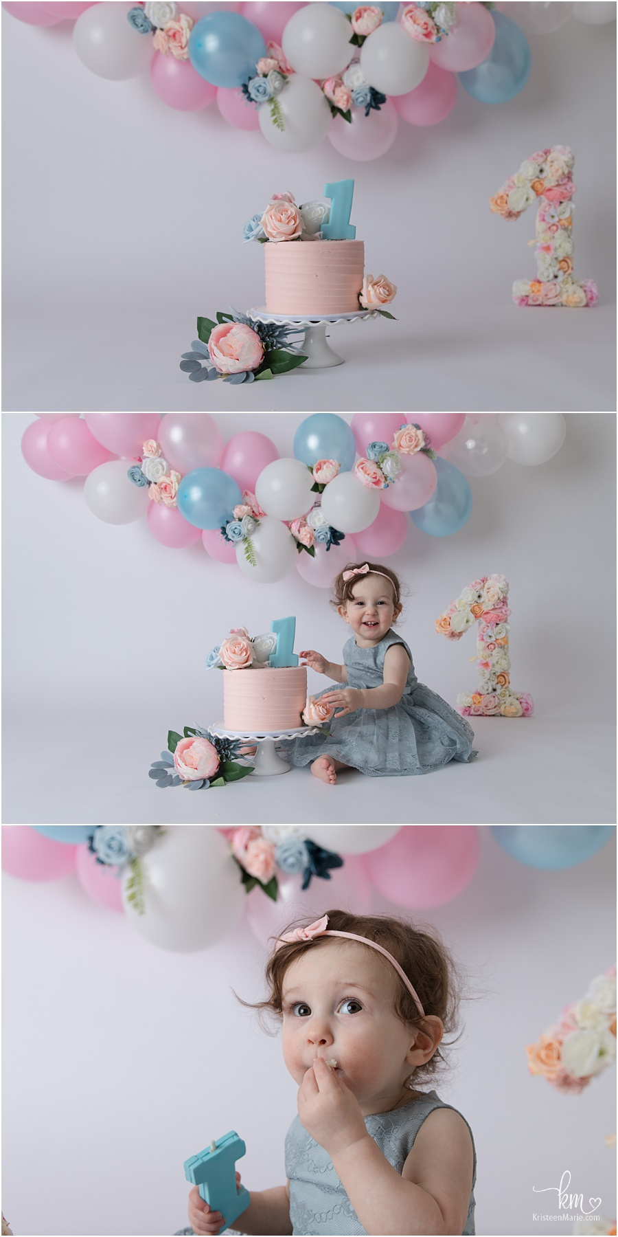 birthday girl - blush and blue 1st birthday cake smash