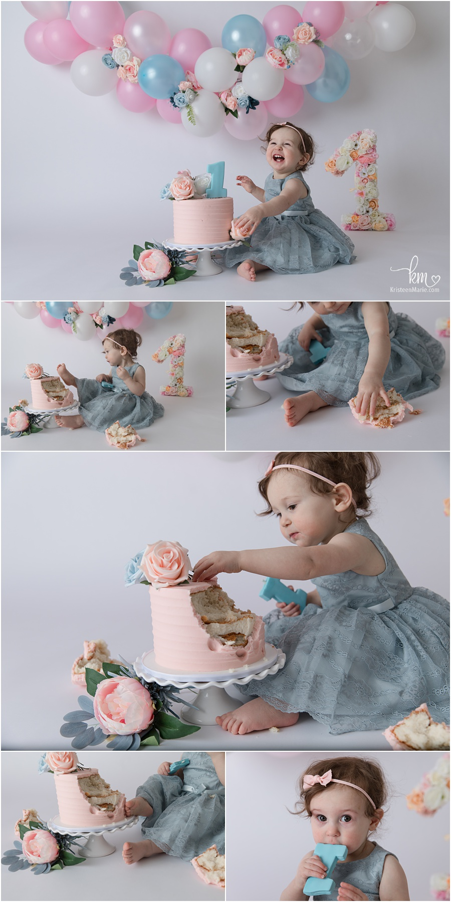 blush, blue, and floral cake smash with balloon arch