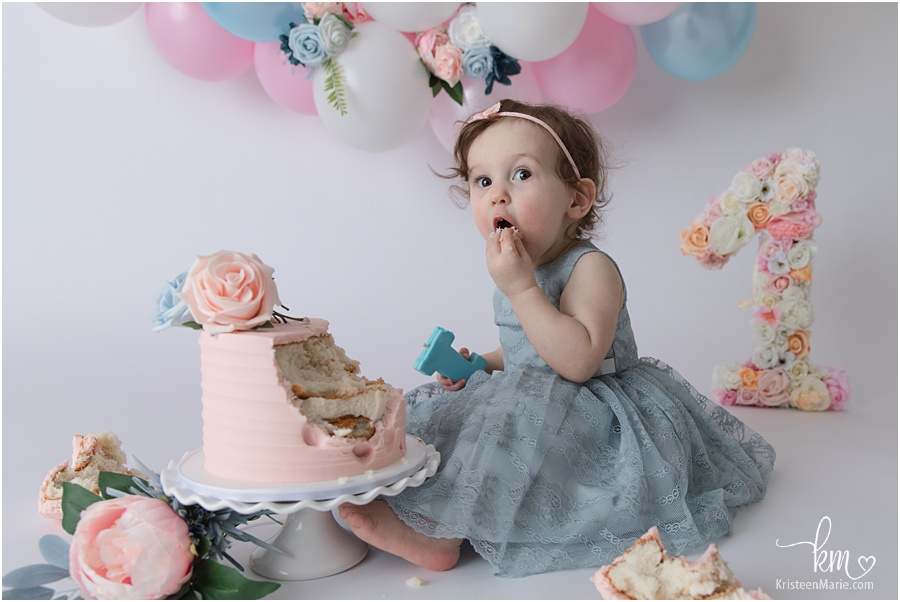 birthday girl - blush and blue cake smash