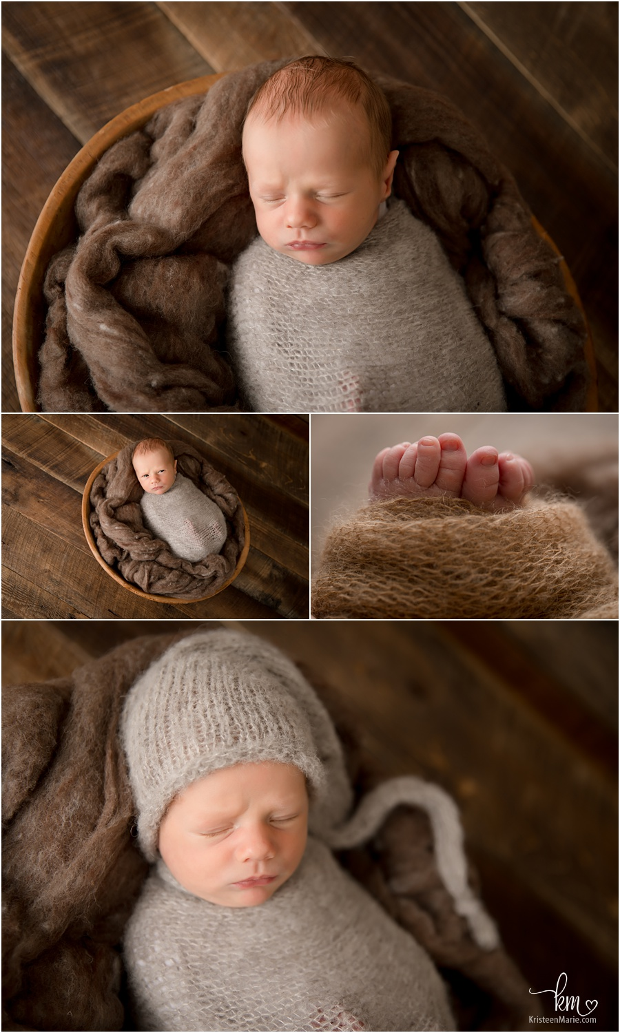newborn baby boy in brown tones