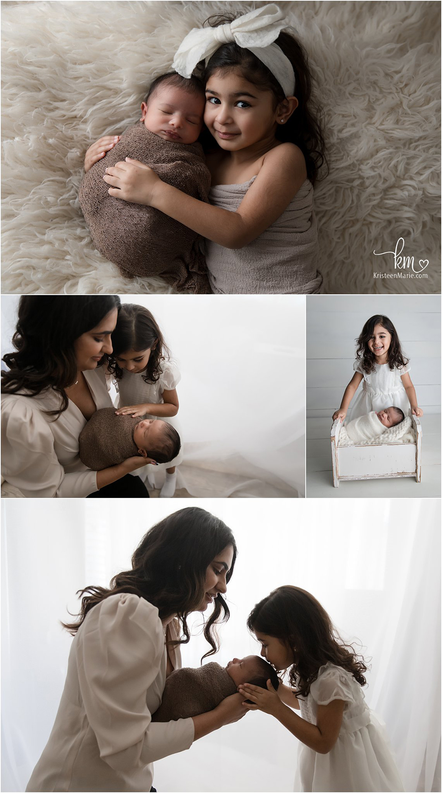 big sister, newborn and mom poses - Indainapolis newborn photographer