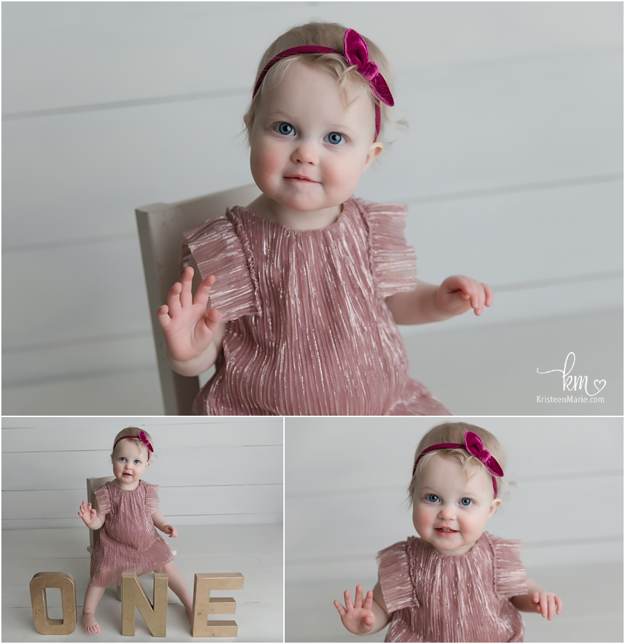 1 year old girl in pink dress