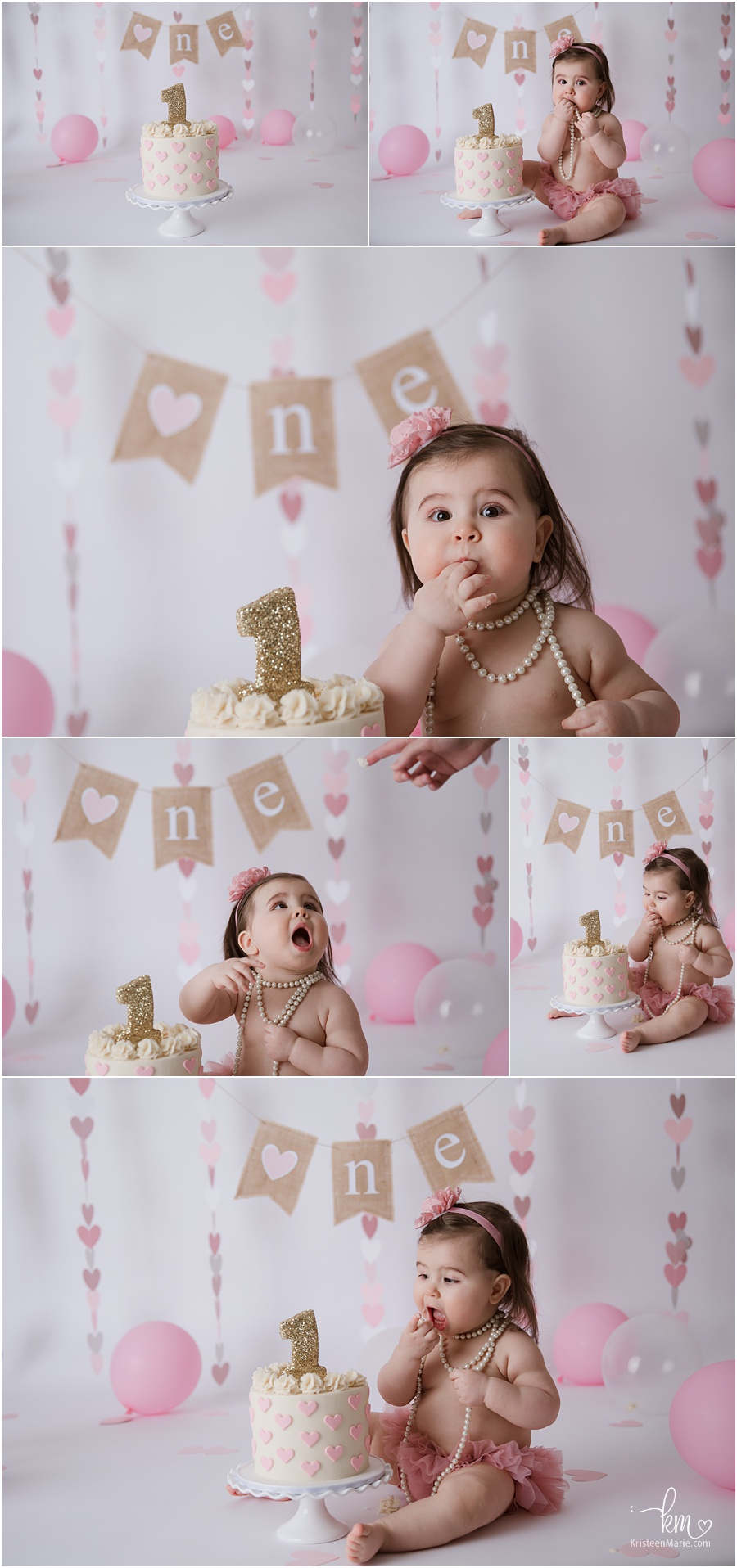 pink and gold with burlap heart 1st birthday cake smash - balloons and party