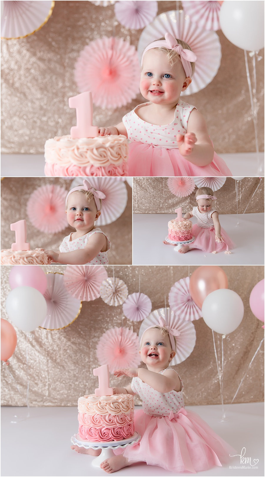Pink and gold cake smash - fans and balloons
