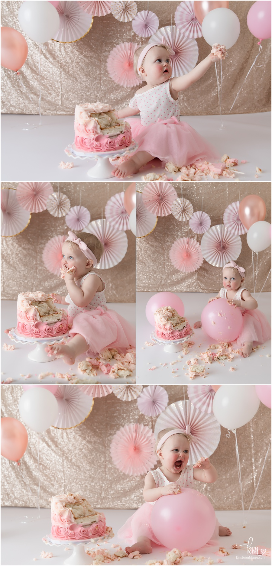 pink and and gold 1st birthday cake smash