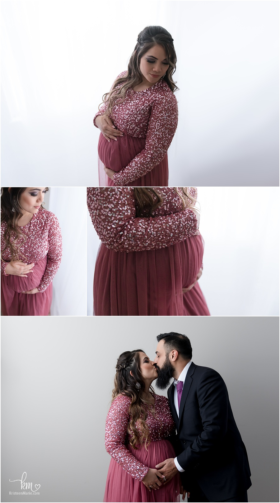 In-studio maternity photography - backlit