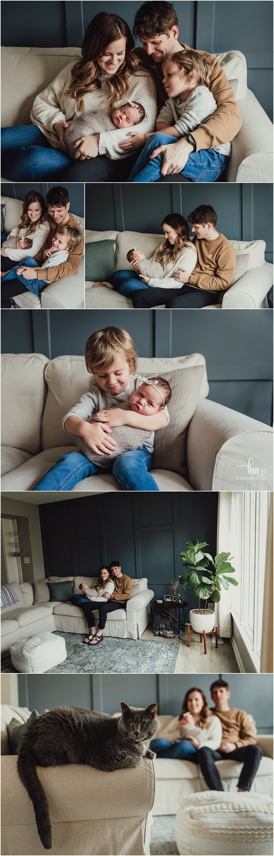 family with newborn baby - traditionally decorated home with plants