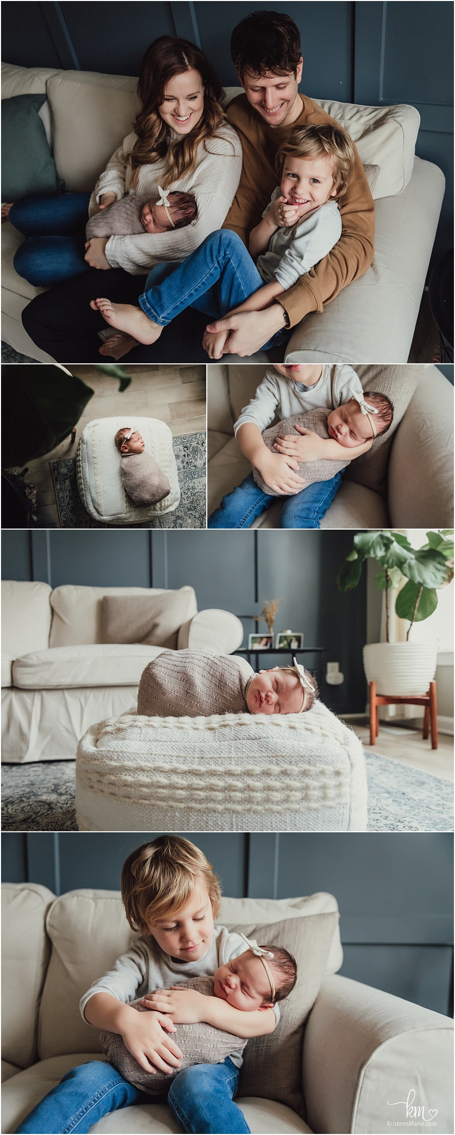 family session against navy wall in-home lifestyle newborn photography in Indianapolis, IN
