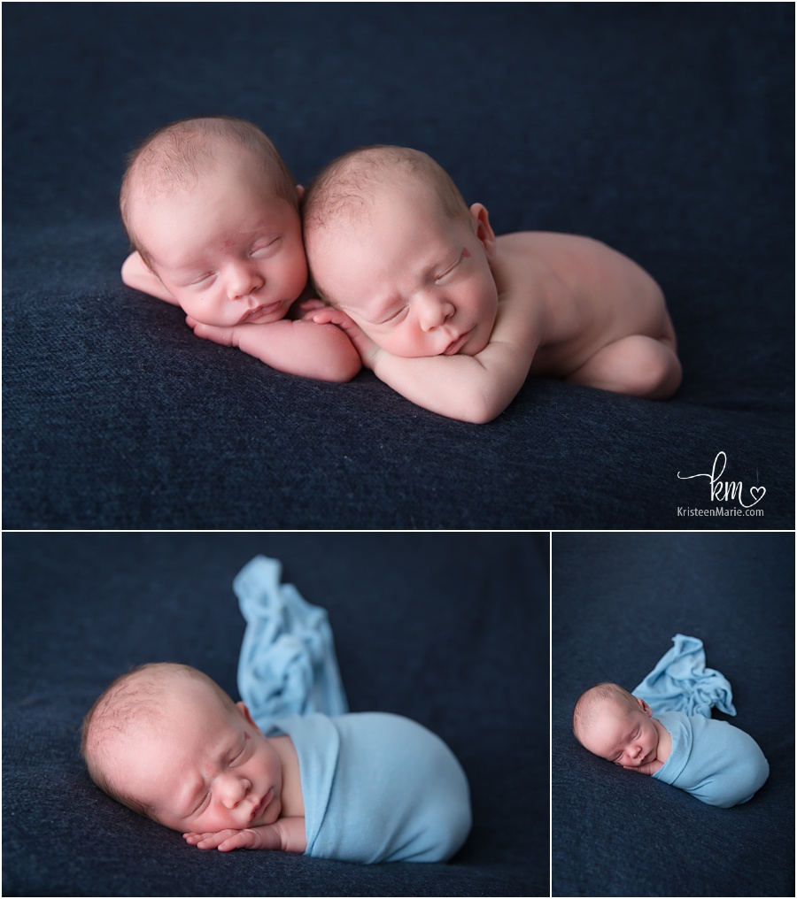 Twin newborn boys in photography studio