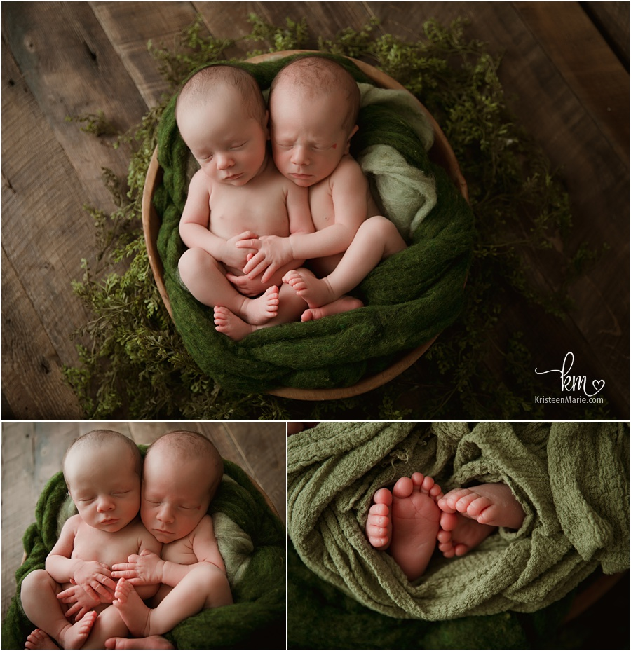 indianapolis newborn photography newborn boys in green