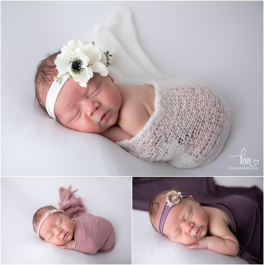 newborn girl in photography studio