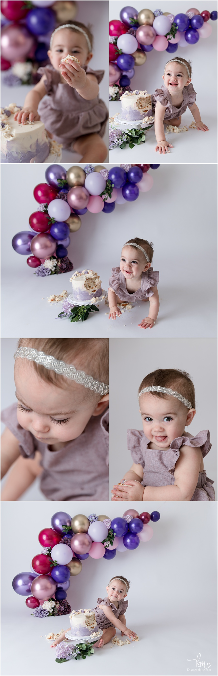 adorable 1st birthday cake smash session - soft purple baloon arch with pink and maroon