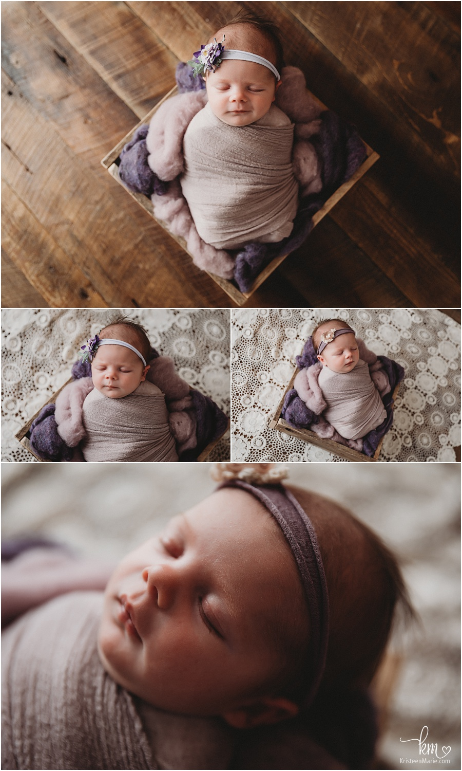 rustic newborn photography with lace, dark wood and purple accents