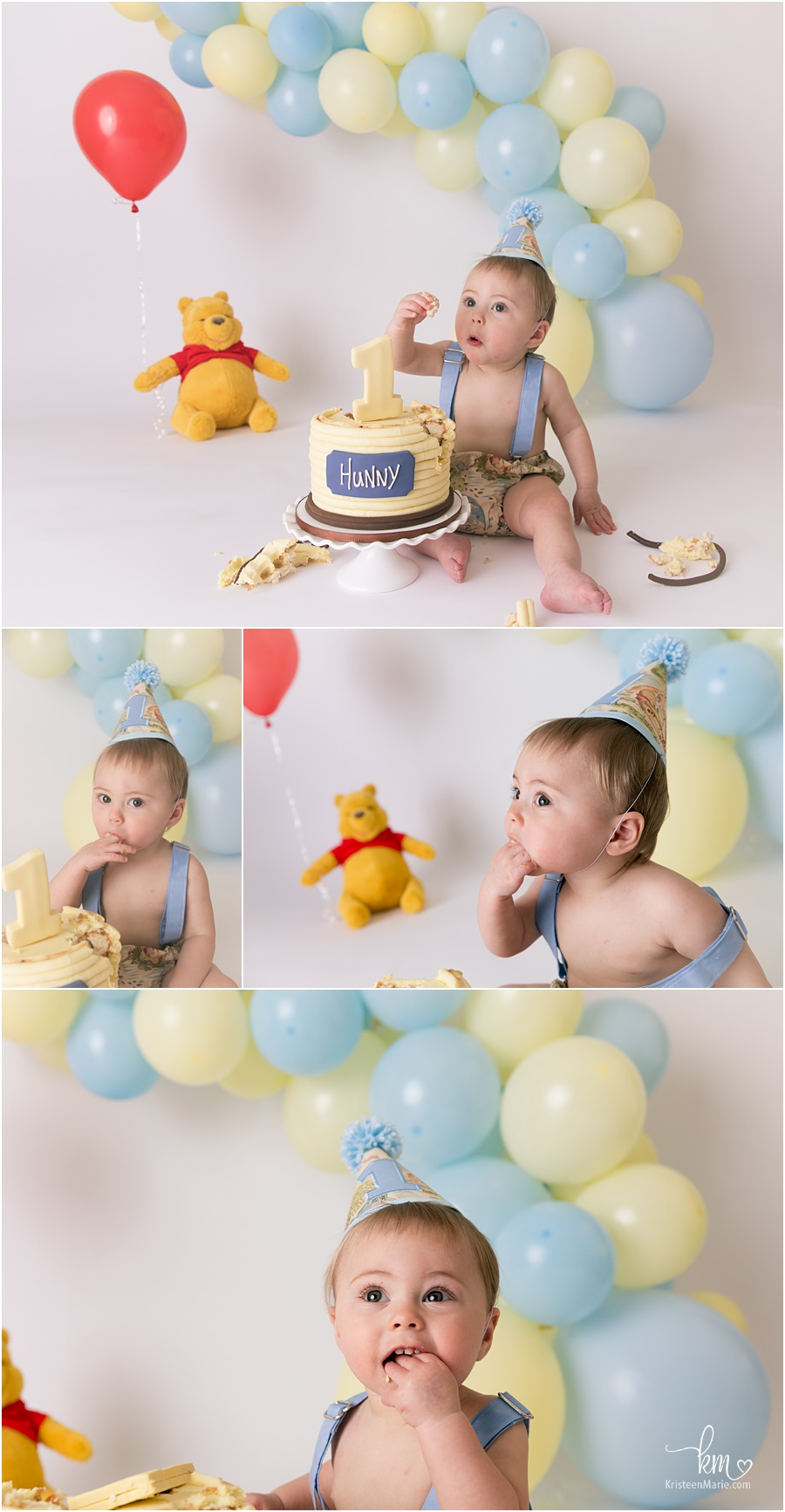 Boy Winnie the Pooh Cake Smash for 1st birthday - blue and yellow