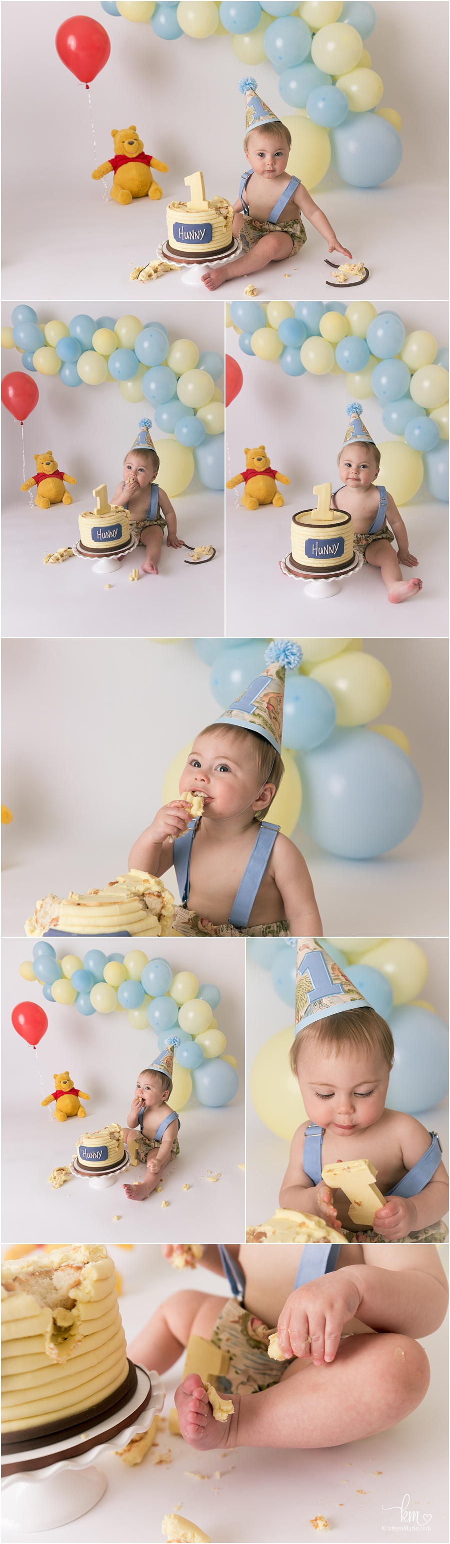 blue and yellow - Winnie the Pooh Cake Smash for 1st birthday