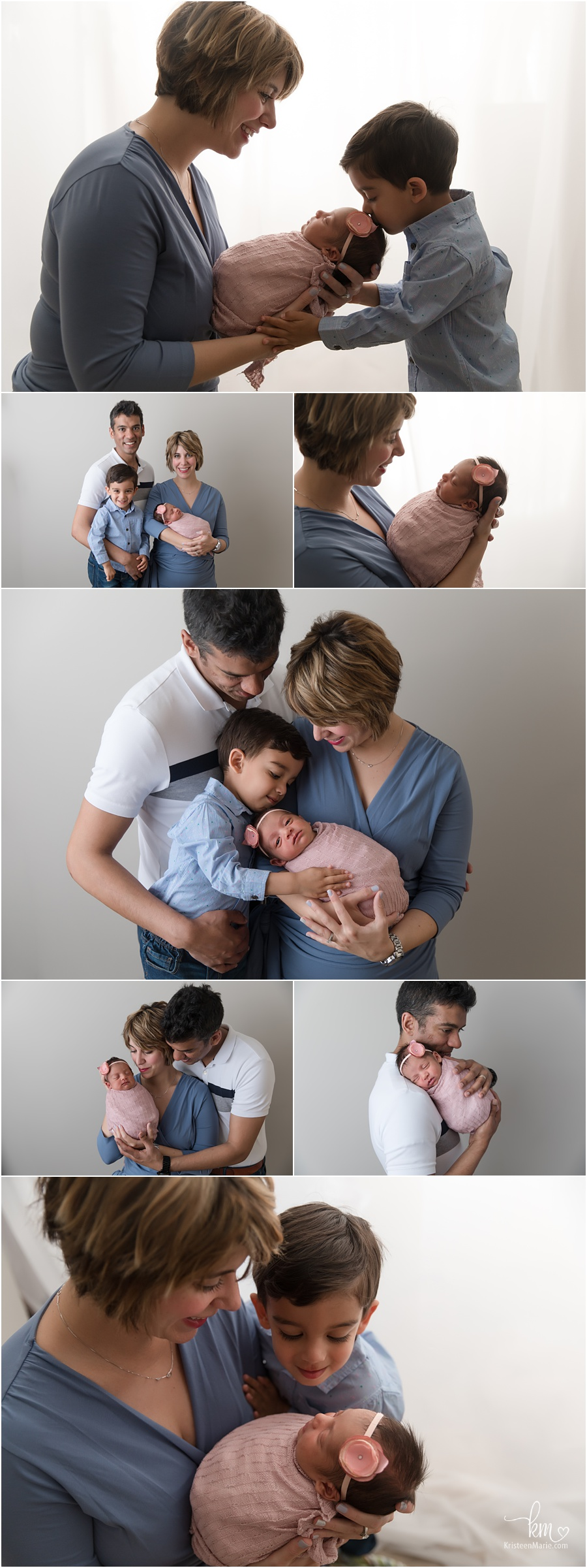The whole family with newborn baby girl - Indianapols family and newborn photography