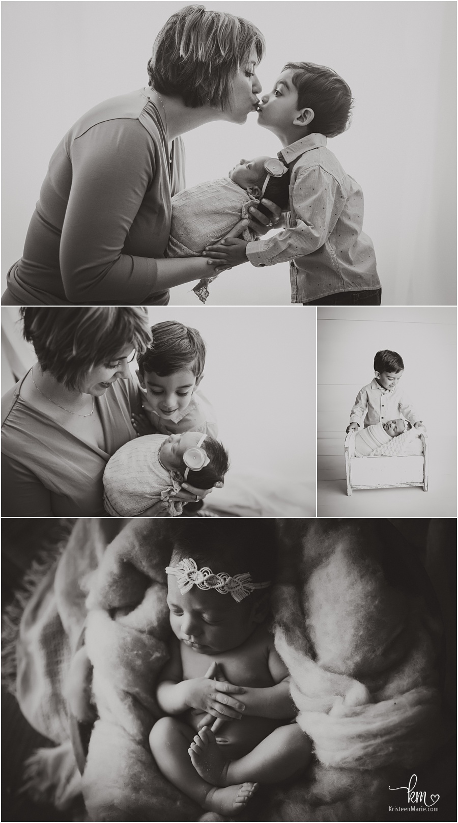 black and white images with new baby