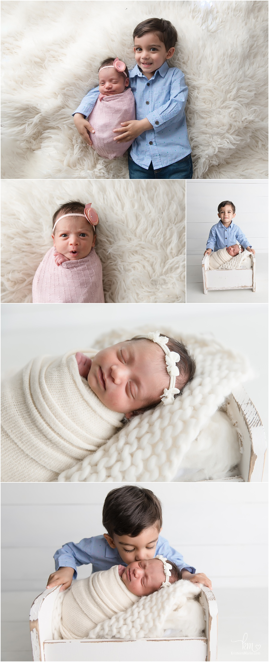baby sister with new big brother - pink and blue