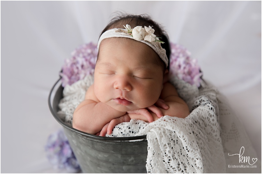 newborn baby girl in a basket with purple flowers
