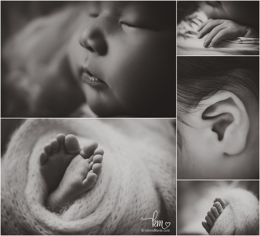 black and white newborn pictures - baby features