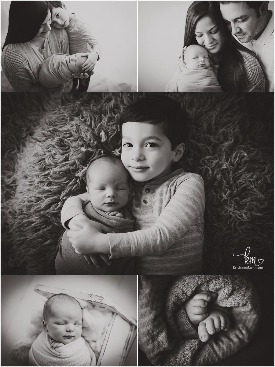 black and white newborn photograhy images - sibling and family