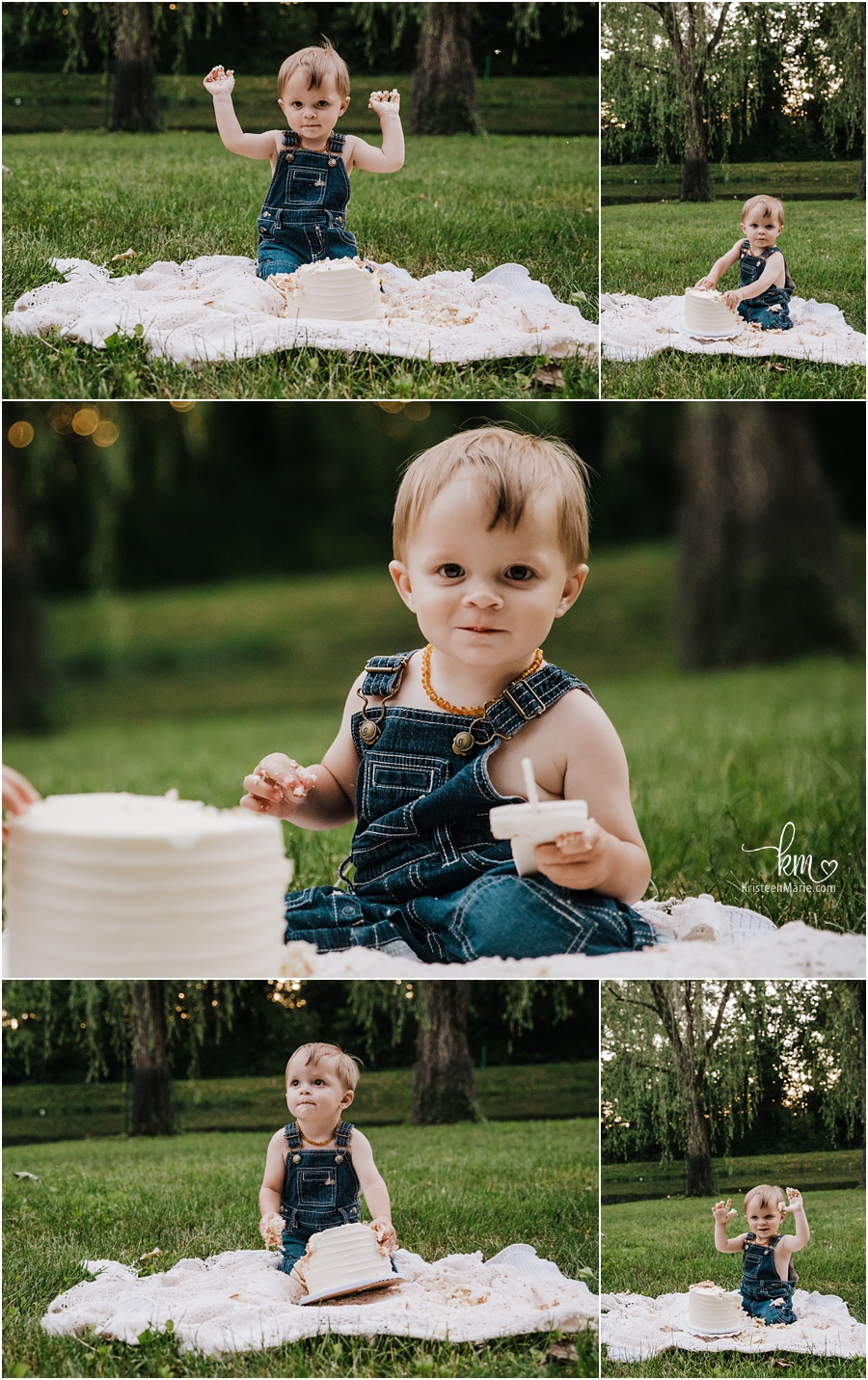 outdoor cake smash photography at sunset