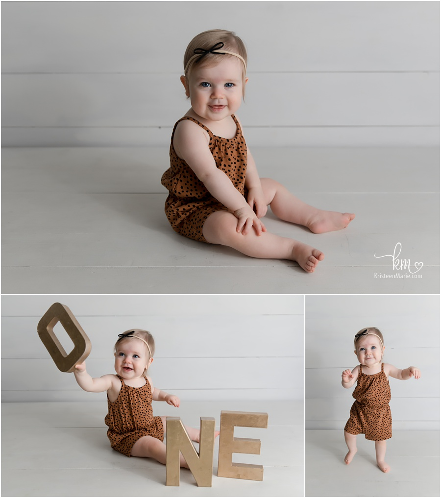 one year old in photography studio