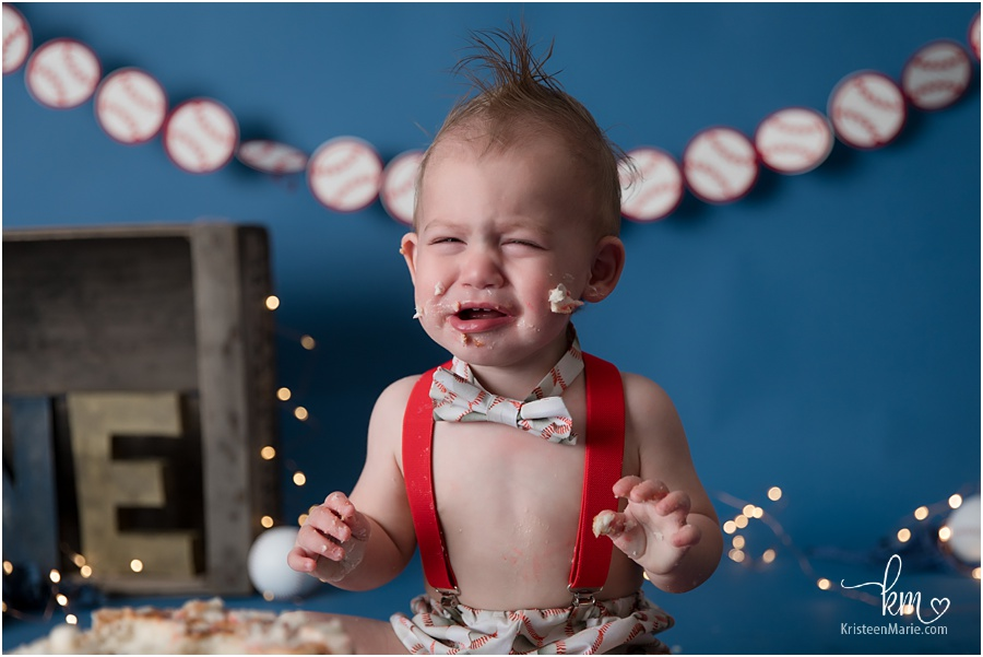 crying at the end of the cake smash session
