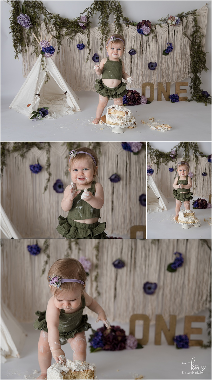 purple and green cake smash for little girl - floral and boho elements