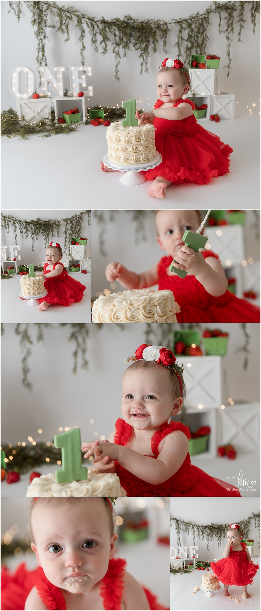 Strawberry cake smash session - green and red with greenery