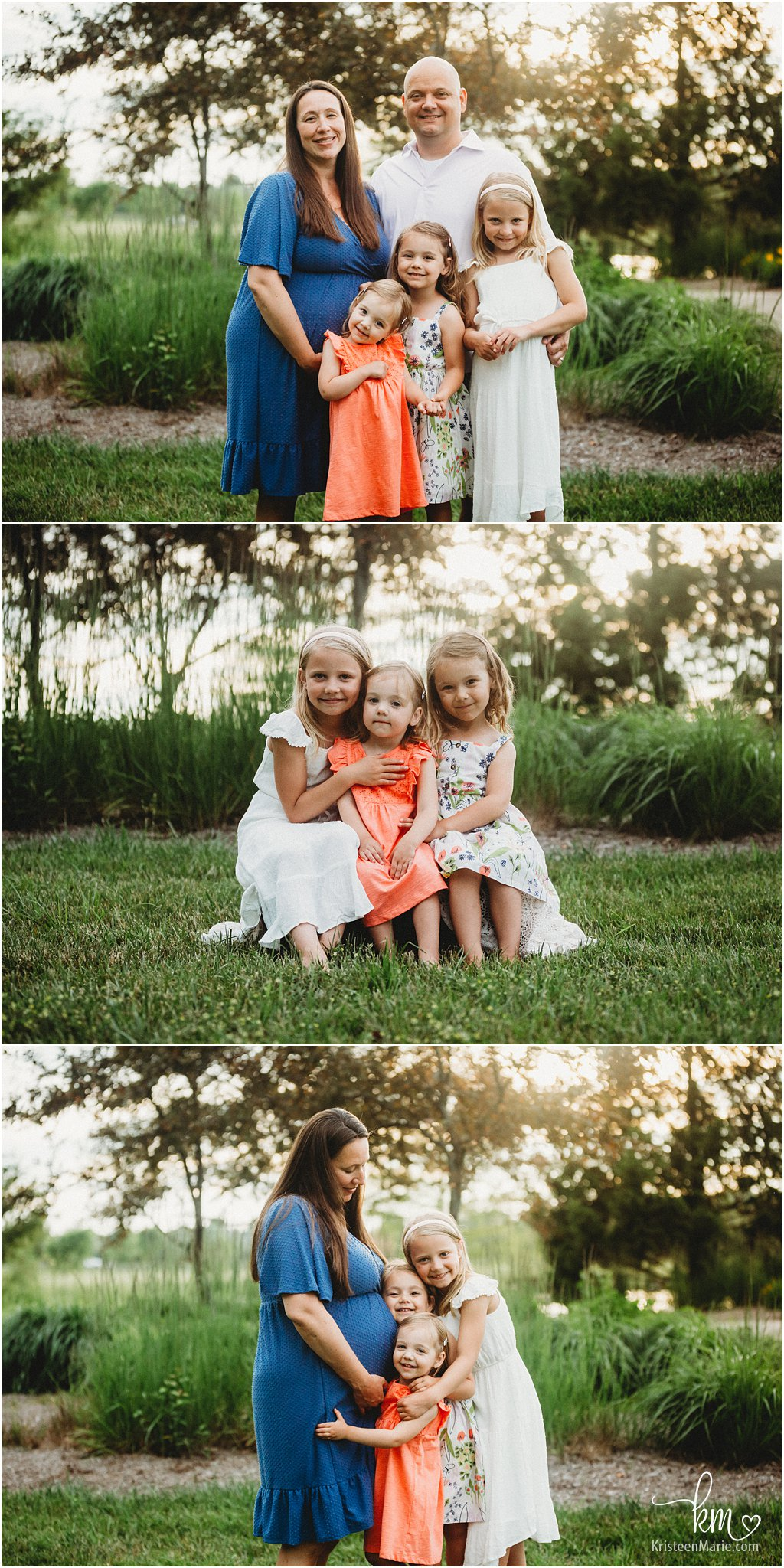 Maternity photography with three girls