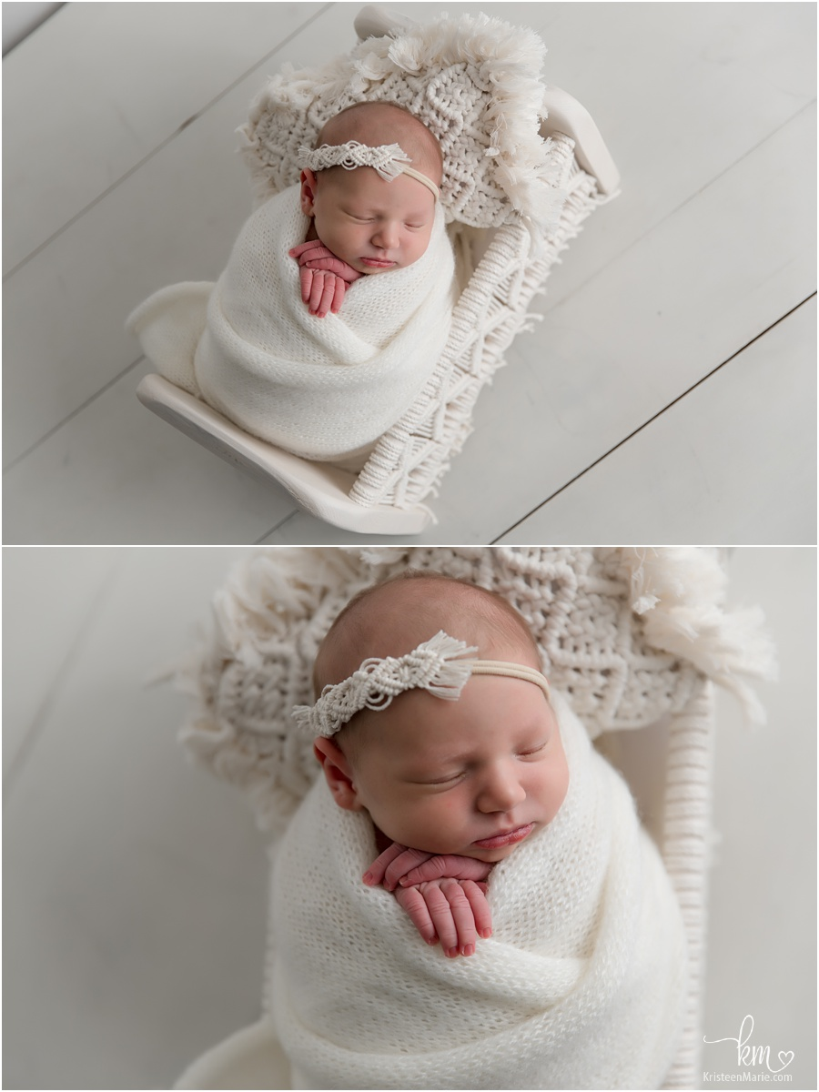 newborn photography with all white
