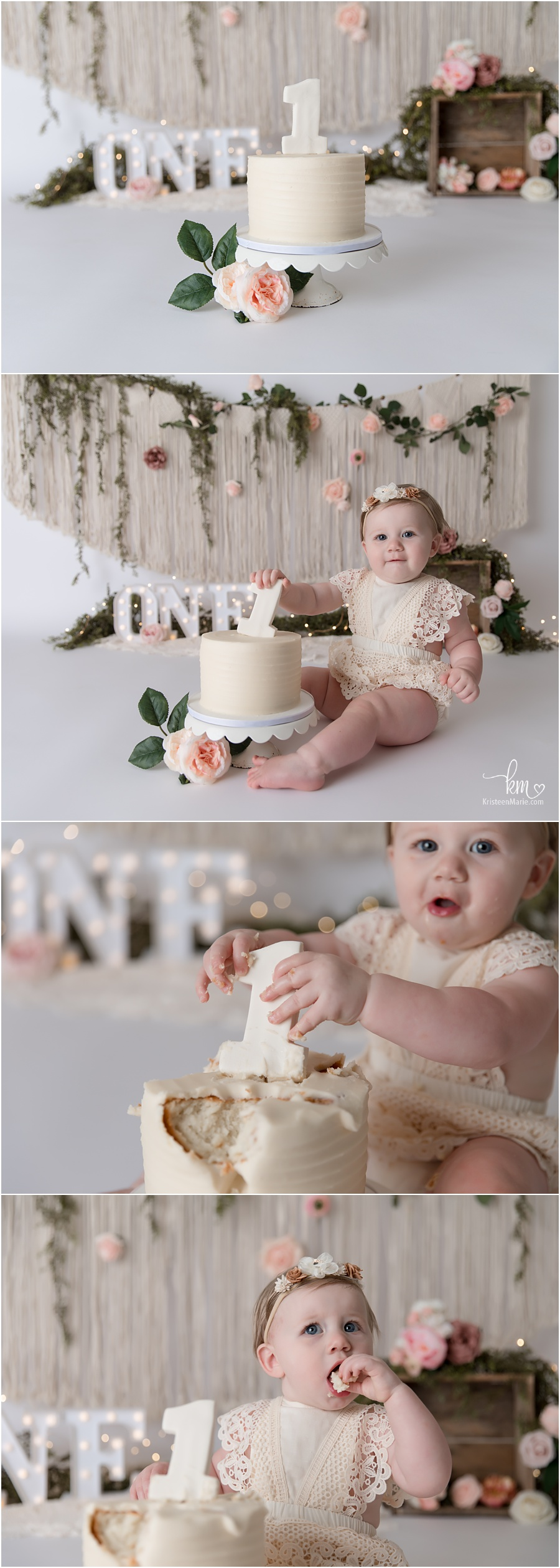 blush pink and green boho cake smash with flowers