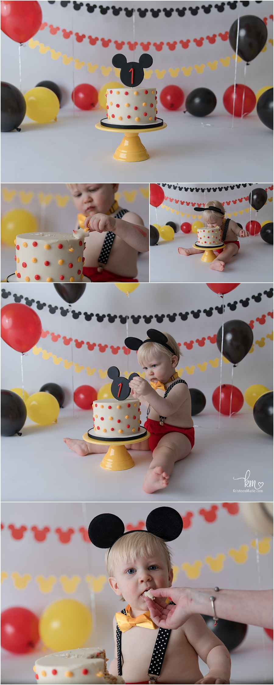 Traditional 1st Birthday Mickey Mouse Cake Smash Session