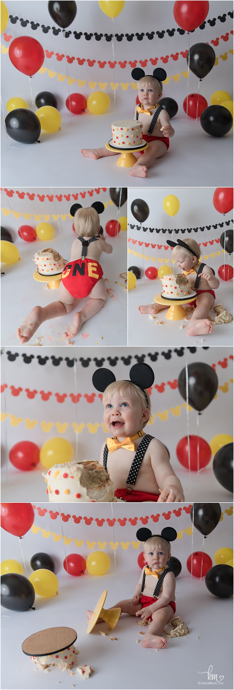 Yellow, red, black 1st Birthday Mickey Mouse Cake Smash Session