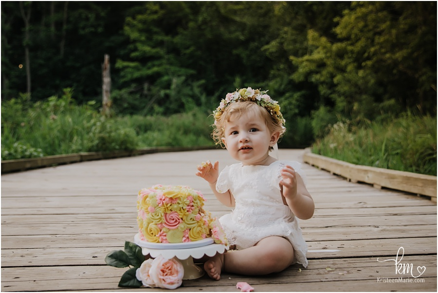 outdoor cake smash - yellow and pink with flower crown