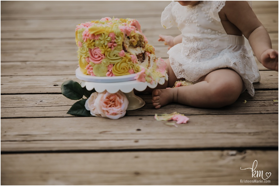 pink and yellow cake