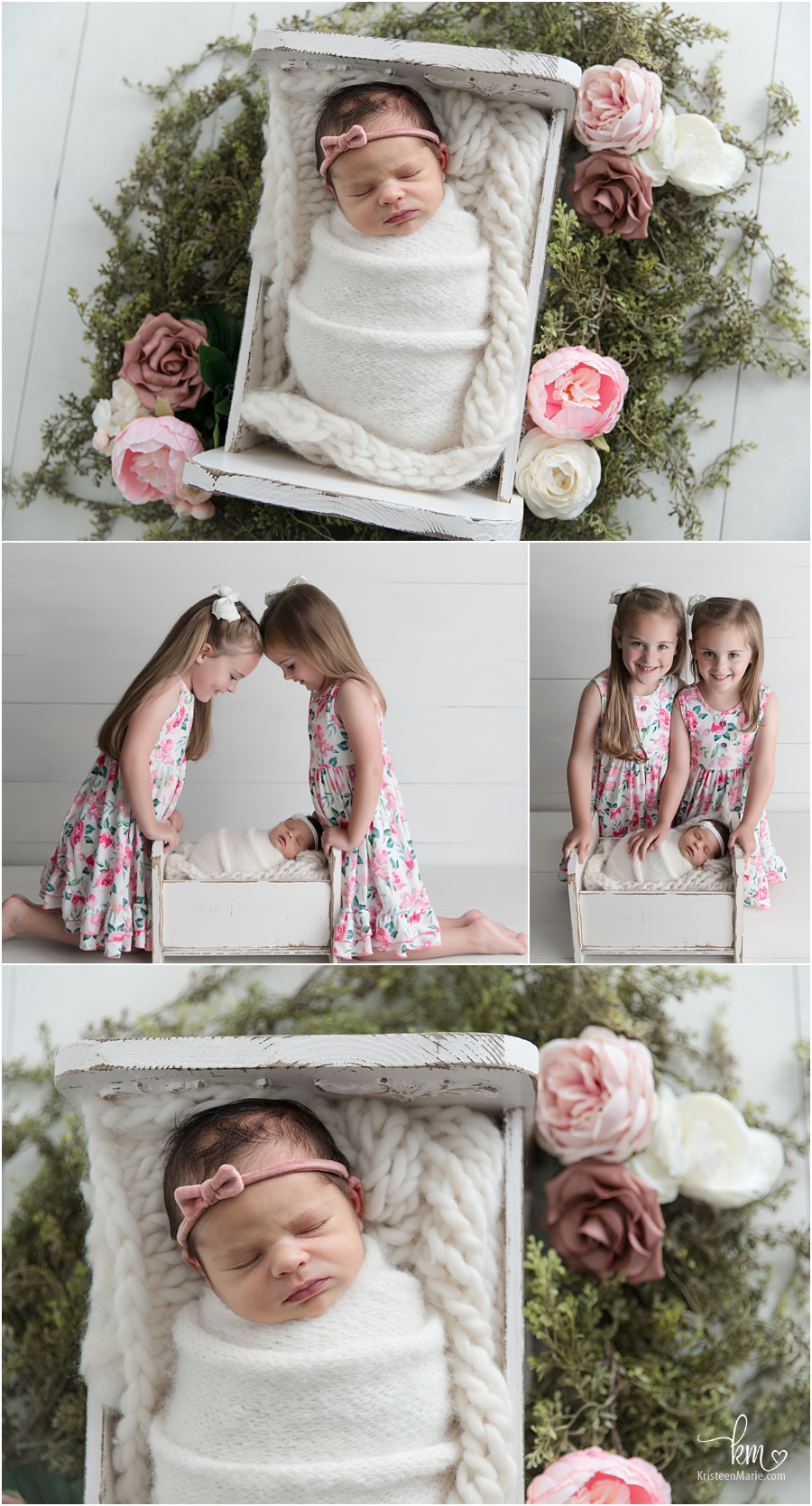 family pictures with twin girls and newborn baby