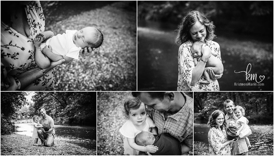 black and white newborn pictures family outdoors