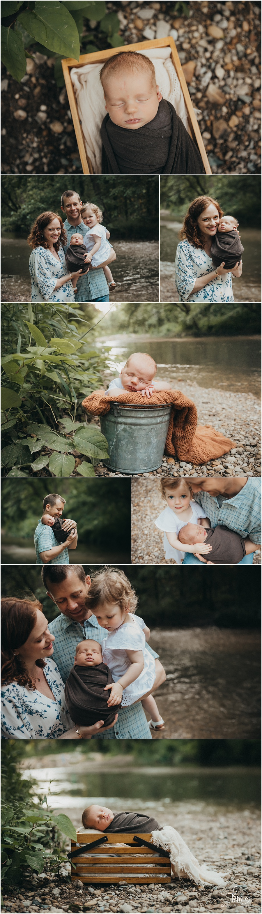 outdoor newborn photography at creek - baby in box and bucket