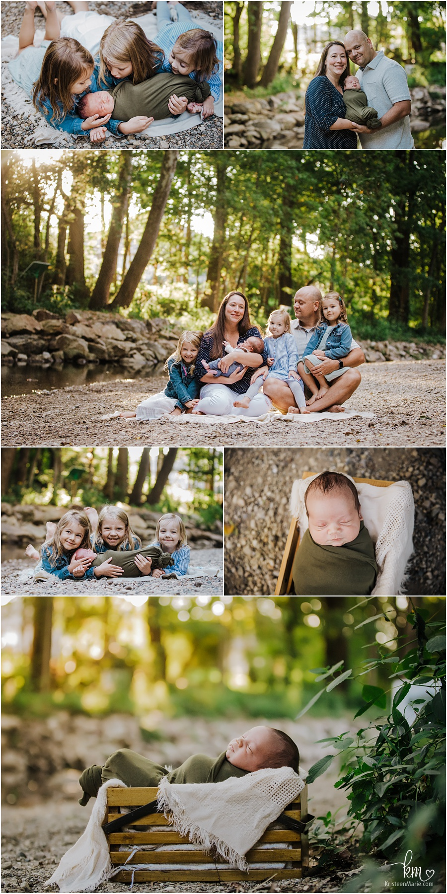 outdoor newborn family photography at creek